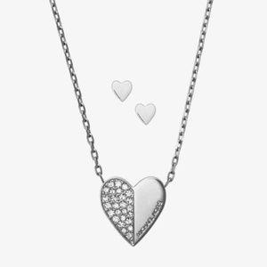Michael Kors Silver Heart Necklace + Earrings Set